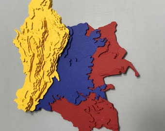 Topographic Map Of Colombia.Topographic Map Etsy