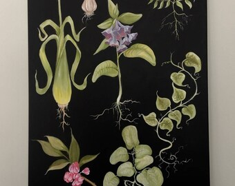 One of a kind original oil painting of various plants