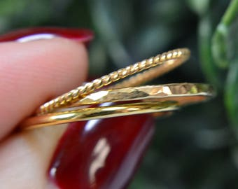 14k Gold Filled Stacking Rings - set of 3 - Dainty Stacking Rings x3 - Stacking Ring Set