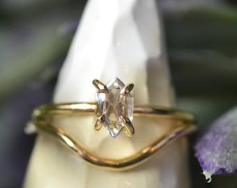Herkimer Diamond Stacking Ring Set - Herkimer Diamond Ring + Curved Stacking Ring - Sterling Silver & 14k Gold Fill