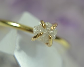 Raw Diamond Ring - Sterling Silver & 14k Gold Fill - Alternative Engagement Ring - Gifts for Her
