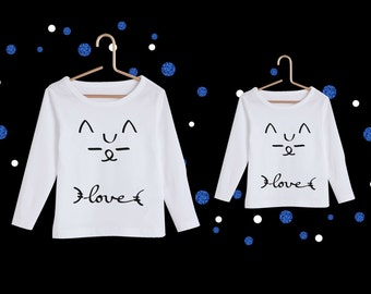 Mother-daughter t-shirt set lechatnoir