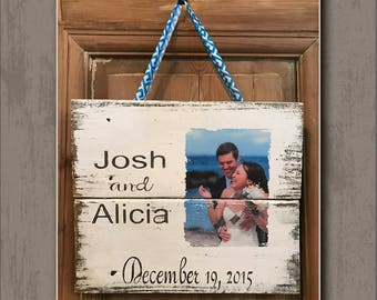 "Hand-Painted, Personalized ""Anniversary or Wedding - Photo"" -  Wood Sign (Wall Decor)"