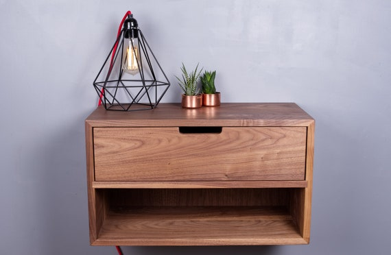 best sneakers 6e9cc ff678 Black Walnut Floating Nightstand - Bedside Table With Drawer - Console -  Scandinavian Modern Vanity