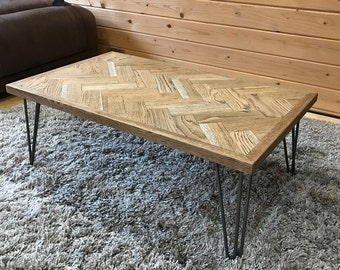 Oak Herringbone Coffee Table - Parquet - Vintage Style - Hairpin Legs