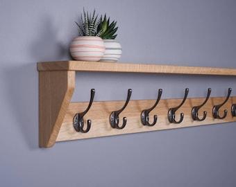 Oak Coat Rack With Shelf,  Wooden, Cast Iron Hooks, Handmade