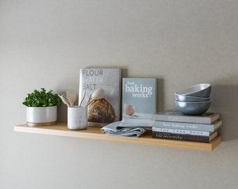 Oak Floating Shelves, Wall Shelves, Concealed Brackets Included, 20cm Deep