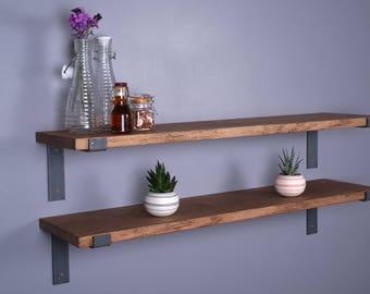 """Solid Oak Vintage Industrial Shelf 9""""- 225mm - Including Metal Brackets - Handmade Shelves"""