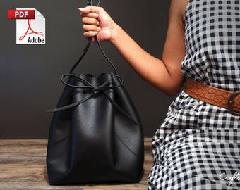 Leather Bag Pattern (PDF Files): Leather Bucket Pattern (with how to guide)
