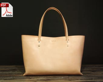 Leather Bag Pattern (PDF Files) Leather Tote Bag (with how to guide) 7d332cb7df