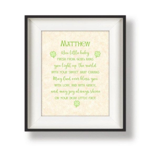 Baby Blessing Quotes Stunning Irish Baby Blessing Nursery Wall Quotes Personalized Etsy