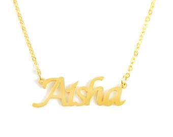 a26ebb1fe0c14 Aisha name necklace | Etsy