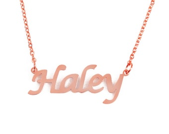a17340d76ace1 HALEY- Personalized Name Necklace - 18ct Rose Gold Gold Silver - Free Gift  Box   Bag - Custom Name Necklace -Christmas Gifts For Her