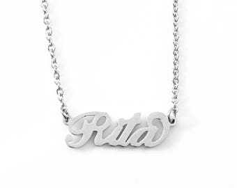 Silver Tone Italic Name Necklace GIULIA