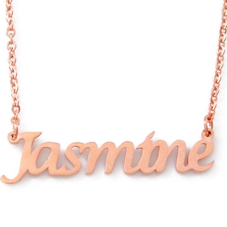 ae63fd39b8f66 JASMINE - Rose Gold Name Necklace - Personalized Jewellery - Free Gift Box  & Bag - Pendants Italic Christmas