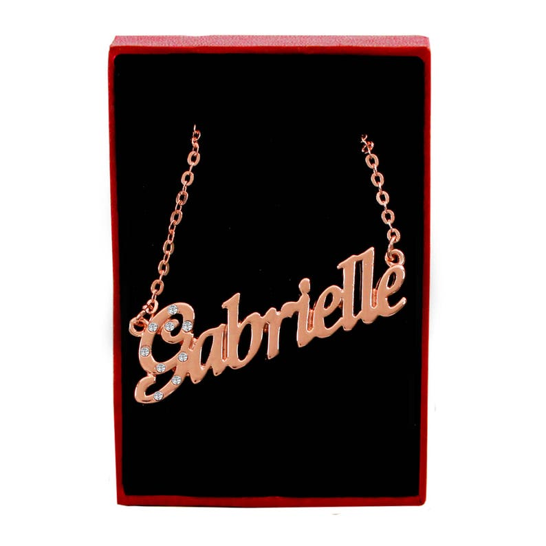 2a9a5217febc2 GABRIELLE - 18K Rose Gold Plated Name Necklace With Cubic Zirconia Crystals  - Inc. Free Gift Box & Bag