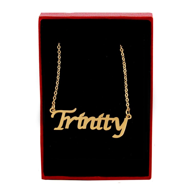 4d2cf87047756 TRINITY - Name Necklace 18ct Gold Plated - Free Gift Box & Bag -  Personalized Jewelry Gifts for Her