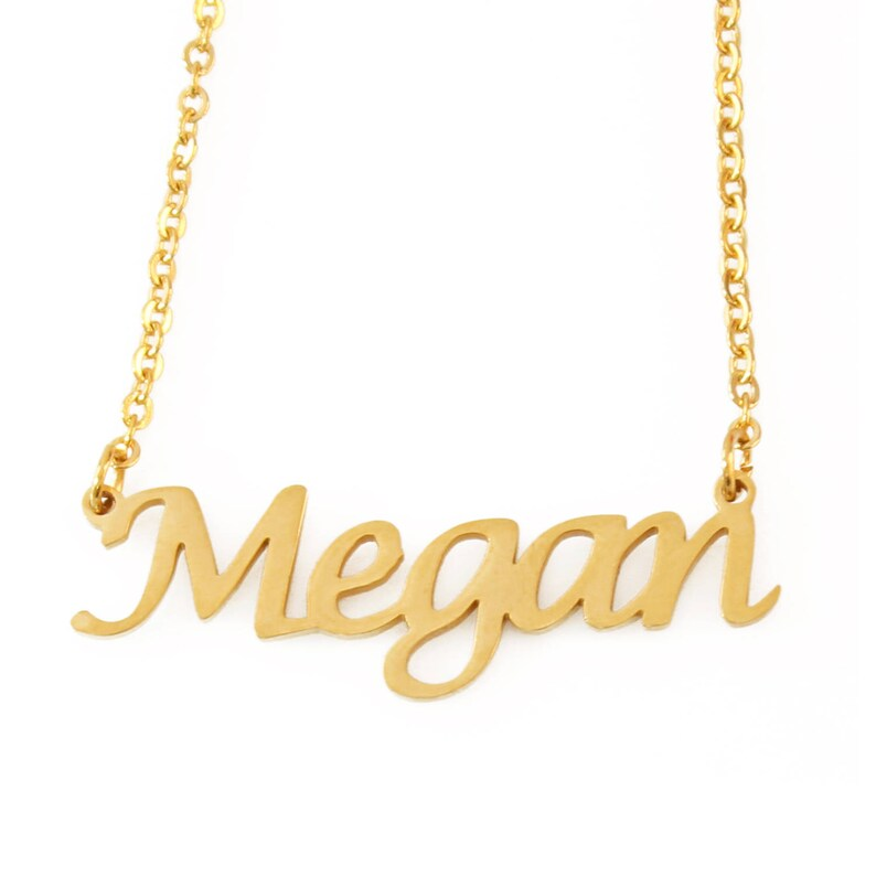 004314ebee0ba MEGAN - Gold Name Necklace - Personalized Jewellery - Free Gift Box & Bag -  Pendants Italic Christmas