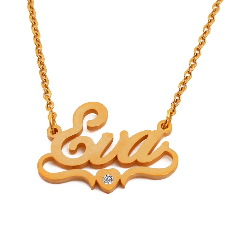 d7d0af24c9a27 Eva Gold Plated Heart Name Necklace Personalized Monogram Gifts For Her  Wife Girlfriend Fiancé Anniversary Birthday Valentines