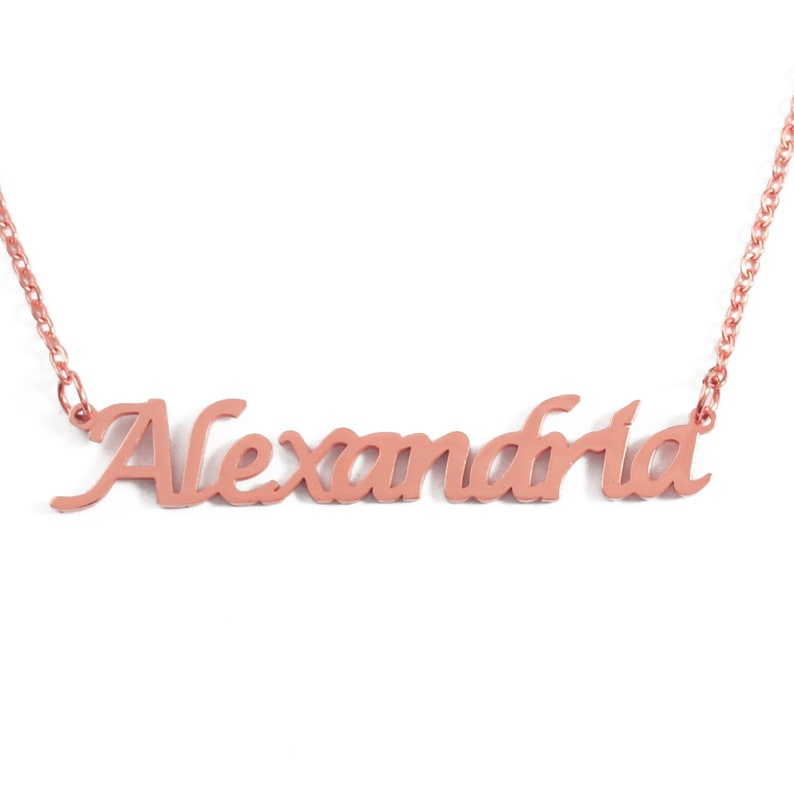 Mum Name Necklace Mothers Mom Appreciation Gift For Her 18K Rose Gold Plated
