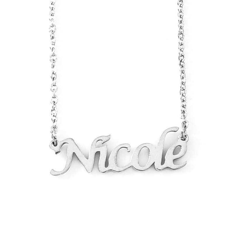 67940d8d35a69 NICOLE - Silver Tone Name Necklace - Personalized Jewelery - Free Gift Box  & Bag - Pendants Italic Christmas