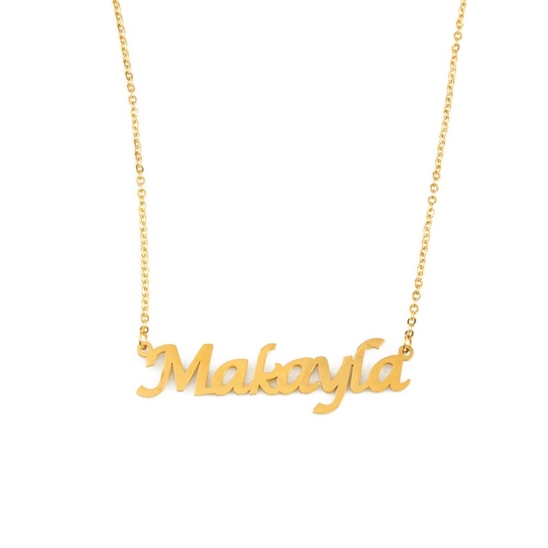 e7653f85405b9 MAKAYLA - Name Necklace Stainless Steel / 18ct Gold Plated - Free Gift Box  & Bag - Personalized Jewelry