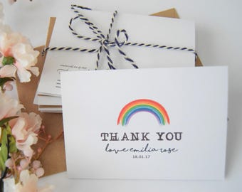 10x thank you cards personalised mini thank you cards