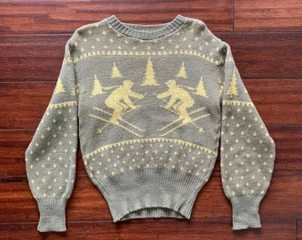 c2f52011135675 1940 s Vintage Rib Knit Ski Sweater by Jersild Wool Size Large