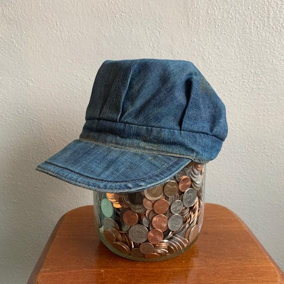 1930's Vintage Indigo Denim Engineers cap Homemade
