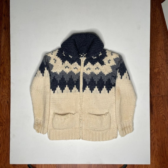 1960's Vintage Knit Shawl Collar Sweater Zipper F… - image 1