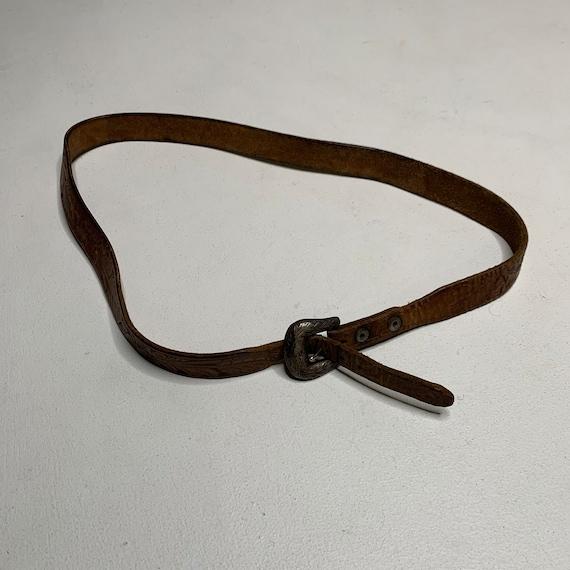 1950's Vintage Sterling Belt Buckle with Tooled L… - image 2