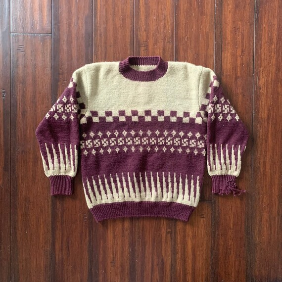 1930's Vintage Knit Sweater Whirling log Checker a