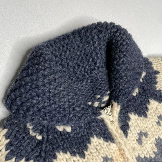 1960's Vintage Knit Shawl Collar Sweater Zipper F… - image 7