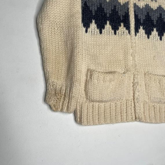 1960's Vintage Knit Shawl Collar Sweater Zipper F… - image 2