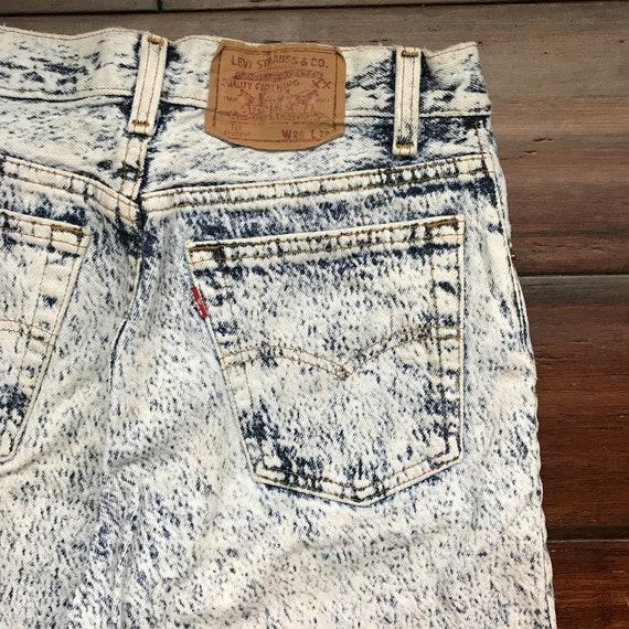 1980's Levis 701 student cut Acid Wash denim jeans