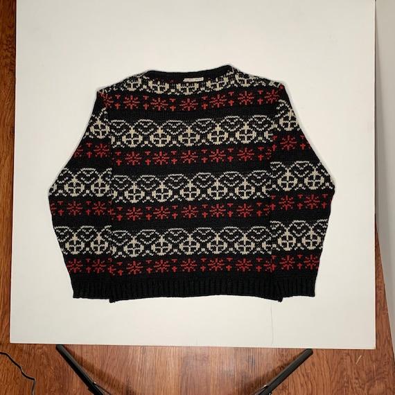 1950's Vintage Hand Knit Smile Face Ski Sweater Bl