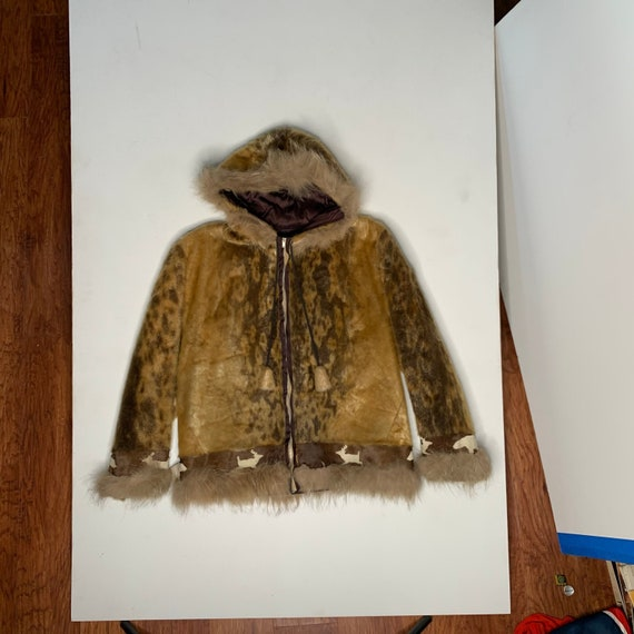 1960's Inuit Snow Parka Northern Canada Zippered Skin Body Fur Trimmed Medium