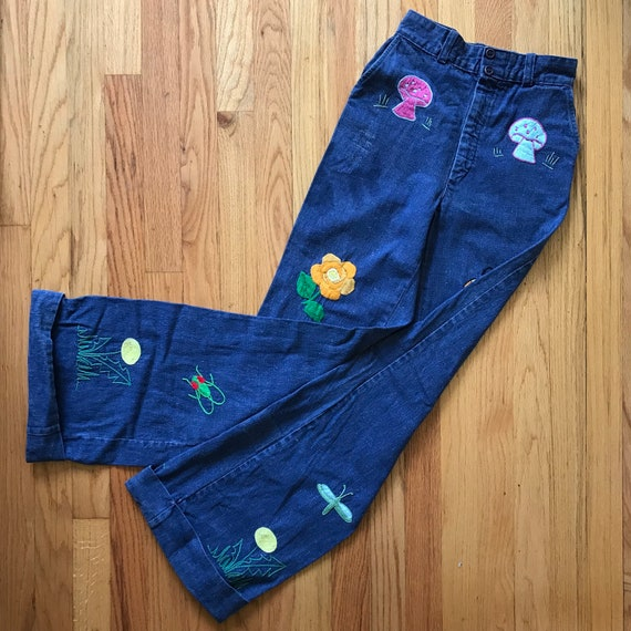 70's Vintage Hand embroidered denim bell bottoms