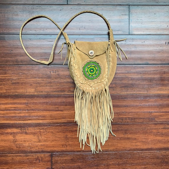 1970's Vintage Beaded Suede leather fringe bag Boh