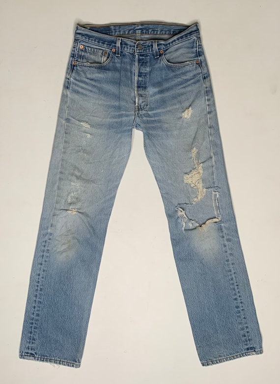 1980's Vintage Levis 501 Distressed Denim Jeans 3… - image 2