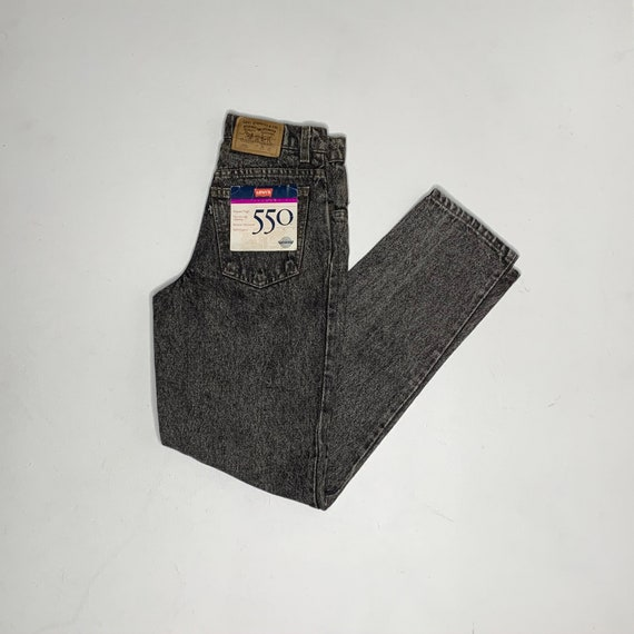 1990's Vintage New With Tags Black Acid Wash Levis