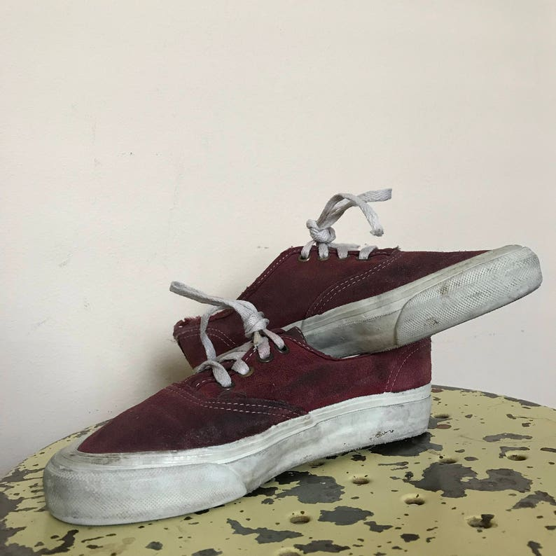 28a14f4ffea32e 90 s Vintage Vans Suede Maroon Mens 5 USA