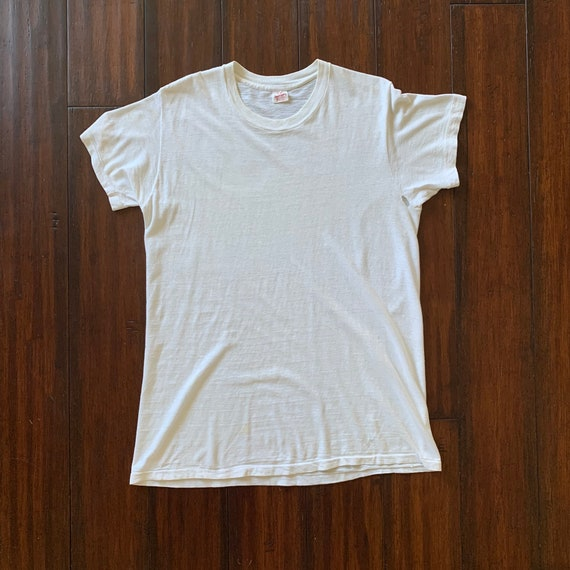 1970's Vintage Healthknit White Cotton T shirt XL