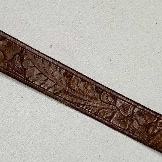 1950's Vintage Sterling Belt Buckle with Tooled L… - image 5