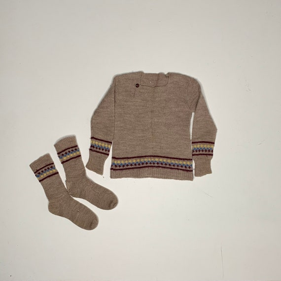 1920's Vintage Hand Knit Childrens Socks and Sweat