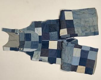 1970's Vintage Quilted Patchwork Denim Overalls Homemade 36 Waist 28 Inseam
