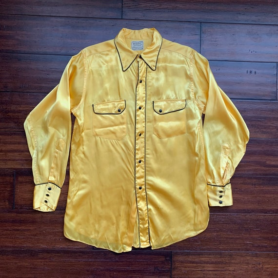 1940's H Bar C Satin  Western Rodeo Shirt Yellow B