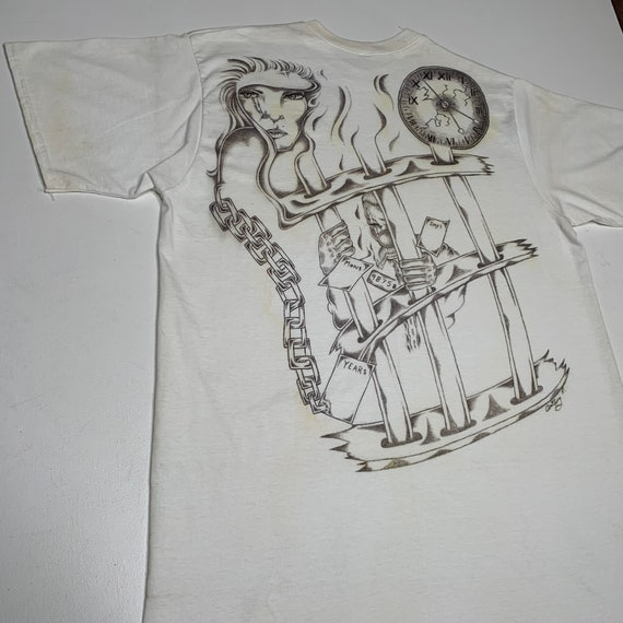 1990's Vintage Hand Drawn Prison T shirt Time Behi