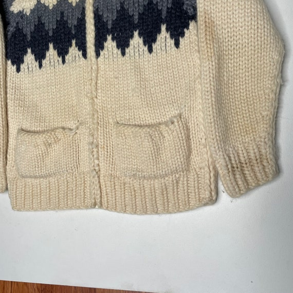 1960's Vintage Knit Shawl Collar Sweater Zipper F… - image 3