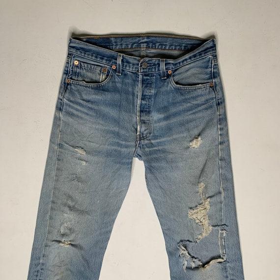 1980's Vintage Levis 501 Distressed Denim Jeans 3… - image 3